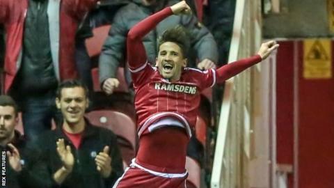 Middlesbrough's Gaston Ramirez celebrates his goal against Wolves