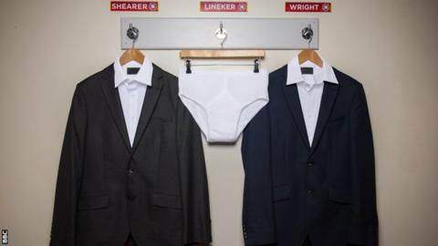 Gary Lineker's pants on a hanger in a mocked up dressing room