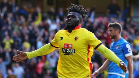 Nigeria's Isaac Success celebrates scoring for Watford.