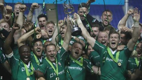 London Irish lift Championship trophy