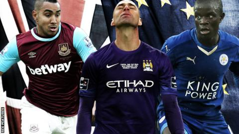 Dimitri Payet, Willy Caballero and N'Golo Kante