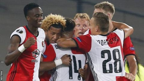 Feyenoord celebrate their goal against Manchester United