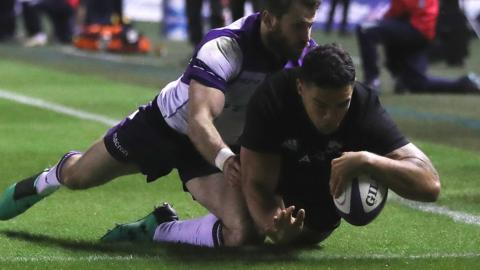 Codie Taylor scores for New Zealand against Scotland