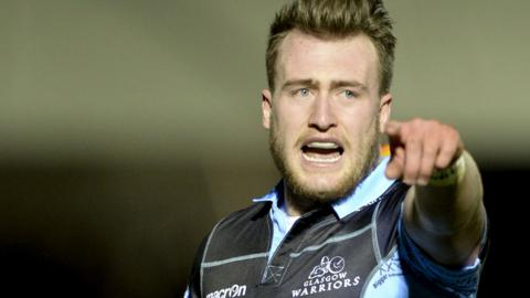 Stuart Hogg makes a point for Glasgow
