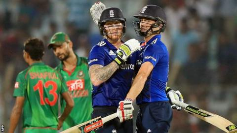 Ben Stokes and Chris Woakes celebrate England's victory