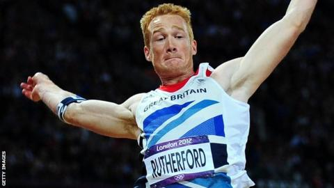 Greg Rutherford on the way to winning gold at London 2012