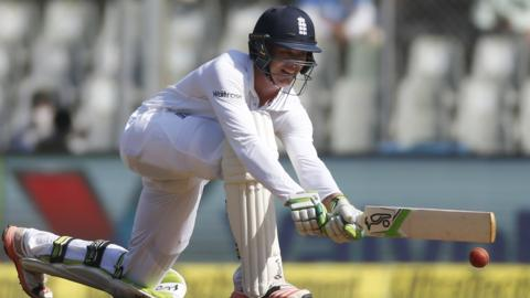 Keaton Jennings bats on day one of the Fourth test