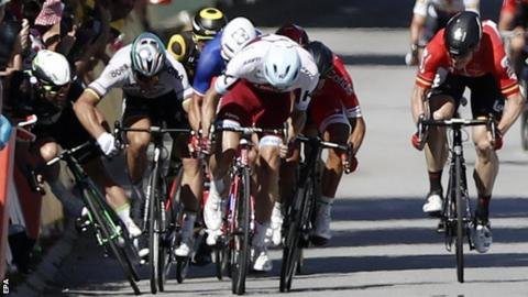 Cavendish (left) claimed Sagan elbowed him in the closing stages of Tuesday's race
