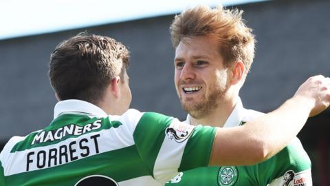 Celtic's James Forrest and Stuart Armstrong celebrate against Dundee