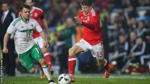 Lloyd Isgrove attacks for Wales against Northern Ireland