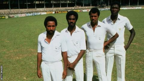 (l-r) Andy Roberts, Michael Holding, Colin Croft and Joel Garner