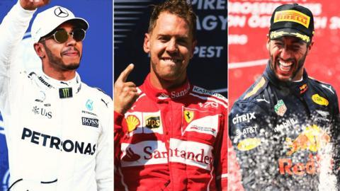 Lewis Hamilton, Sebastian Vettel and Daniel Ricciardo
