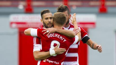 Greg Docherty celebrates the opening goal