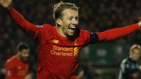 Liverpool's Lucas celebrates