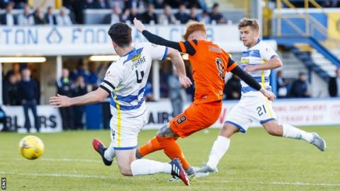 Simon Murray scores the equaliser for Dundee United