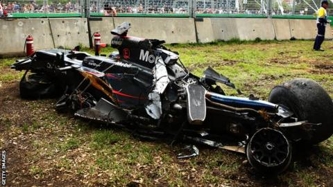 Fernando Alonso's McLaren after the collision