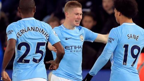 Kevin de Bruyne celebrates scoring for Manchester City against Leicester
