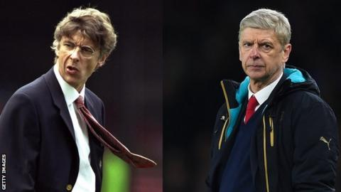 Arsene Wenger 20 years ago (left) and now