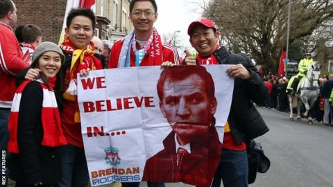 Liverpool fans holding a banner in support of Brendan Rodgers in April 2014