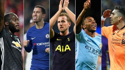 Romelu Lukaku, Eden Hazard, Harry Kane, Gabriel Jesus and Roberto Firmino