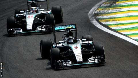 Mercedes' Nico Rosberg and Lewis Hamilton
