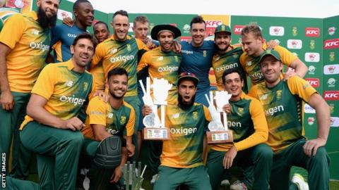 South Africa celebrate their series win