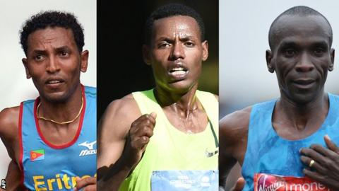 Tadese (left) and Desisa (centre) faded, while Kipchoge was on target pace with five miles remaining