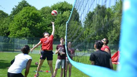 People playing volleyball during Go Spike Big Weekend