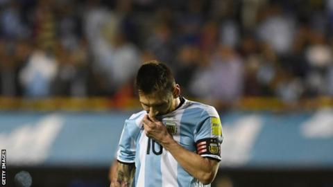 Lionel Messi reacts after Argentina's draw against Peru