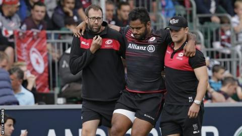 Billy Vunipola leaves the field with a leg injury after 37 minutes