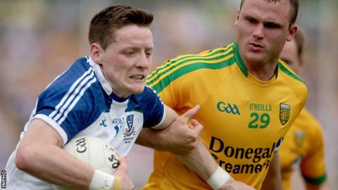 Conor McManus attempts to get away from Neil McGee in last year's Ulster Final