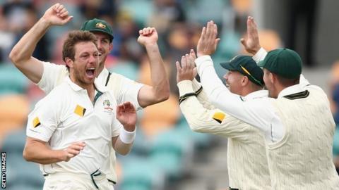 James Pattinson celebrates with his Australia team-mates