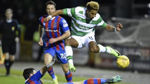 Celtic's Scott Sinclair takes evasive action against Inverness CT