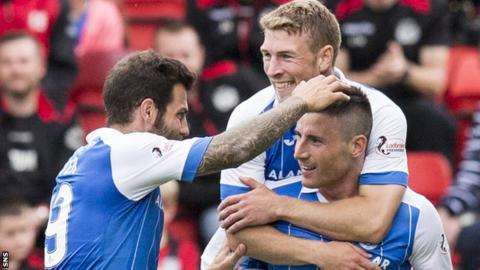 St Johnstone's Richard Foster, David Wotherspoon and Michael O'Halloran celebrate