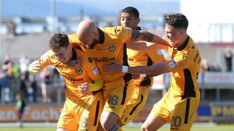 Newport County celebrate their winning goal against Accrington Stanley