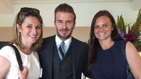 Charlotte Edwards, David Beckham & Suzie Bates