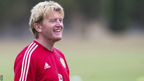 Stuart McCall oversees Scotland training on Wednesday at their camp in Malta