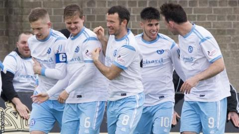 Forfar Athletic celebrate an early strike from Lewis Milne