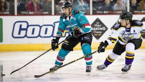 James Desmarais on the attack for Belfast Giants against Manchester Storm