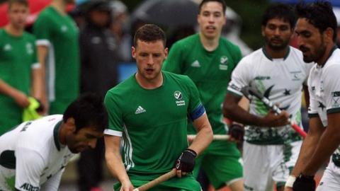 Ireland captain Jonathan Bell in action against Pakistan at Lisnagarvey
