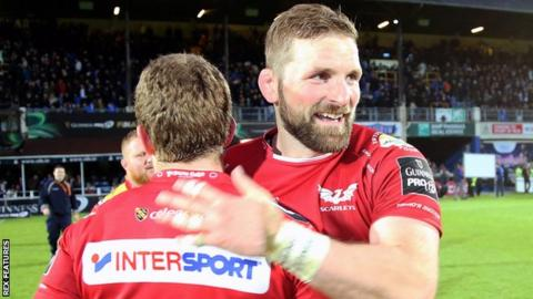 John Barclay celebrates for Scarlets against Leinster