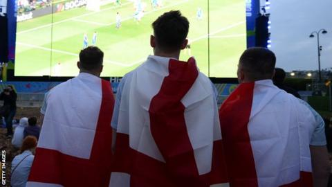 England fans at a fanzone during their Euro loss to Iceland