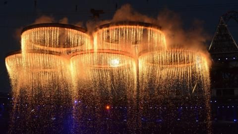 Olympic rings fire