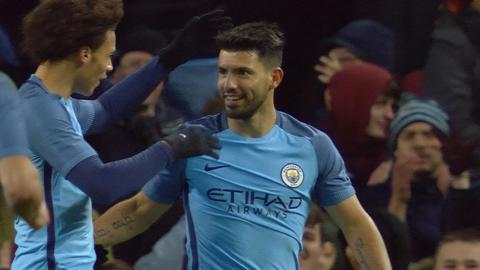 Sergio Aguero scores his second goal