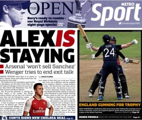 The Metro also say Sanchez is staying at Arsenal
