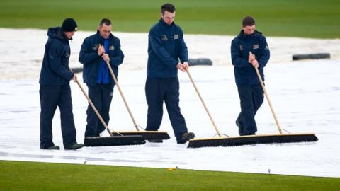 The Hampshire ground staff were the only ones to get on the square at Southampton