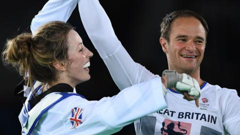 Jade Jones (left) and Paul Green celebrate after the former won gold at Rio 2016