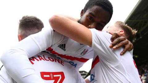Fulham's Ryan Sessegnon celebrates his gaol with team-mates