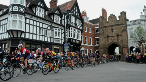 Riders in Beverley during the 2015 Tour de Yorkshire