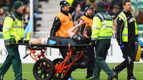 Richie Vernon is carried off injured